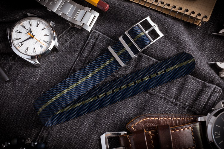 Dark Blue Adjustable Twill Single Pass Slip Through Watch Strap with Green Stripe (20 & 22mm) from STRAPSANDBRACELETS