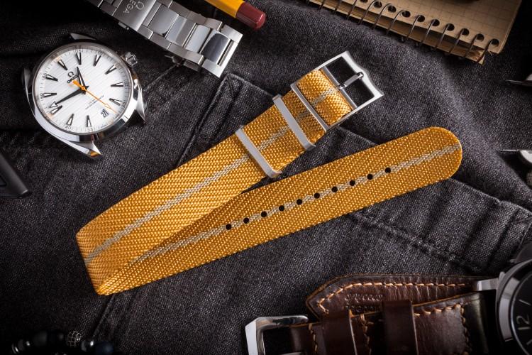 Golden Yellow Adjustable Twill Single Pass Slip Through Watch Strap with Beige Stripe (20 & 22mm) from STRAPSANDBRACELETS