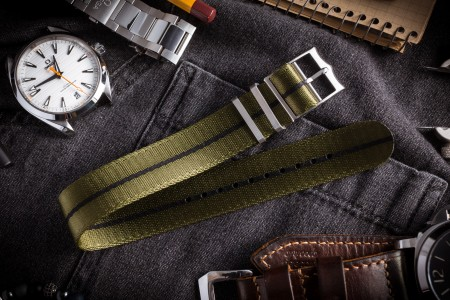 Green Adjustable Seat Belt Fabric Single Pass Slip Through Watch Strap with Black Stripe (20 & 22mm)