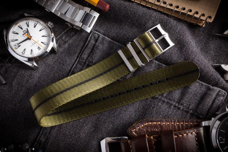 Green Adjustable Seat Belt Fabric Single Pass Slip Through Watch Strap with Black Stripe (20 & 22mm) from STRAPSANDBRACELETS