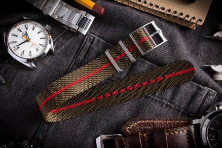 Green & Red Adjustable Twill Single Pass Slip Through Watch Strap (20 & 22mm)