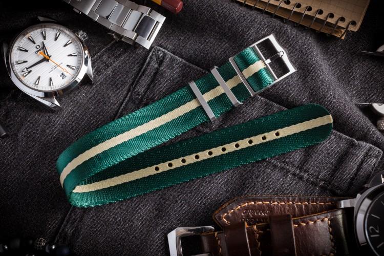 Green & Beige Adjustable Seat Belt Fabric Single Pass Slip Through Watch Strap (20 & 22mm) from STRAPSANDBRACELETS