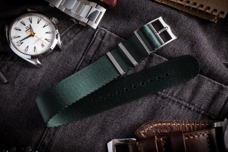 Night Green Adjustable Silky Seat Belt Fabric Single Pass Slip Through Watch Strap  (20 & 22mm)