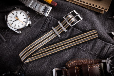 Bond - Black, Beige and Gray Adjustable Nylon Fabric Single Pass Slip Through Watch Strap (20 & 22mm) - No Time To Die