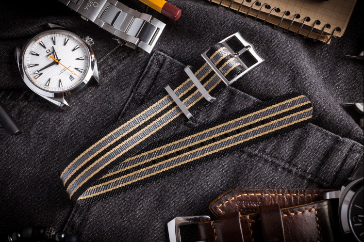 Bond - Black, Beige and Gray Adjustable Nylon Fabric Single Pass Slip Through Watch Strap (20 & 22mm) from STRAPSANDBRACELETS