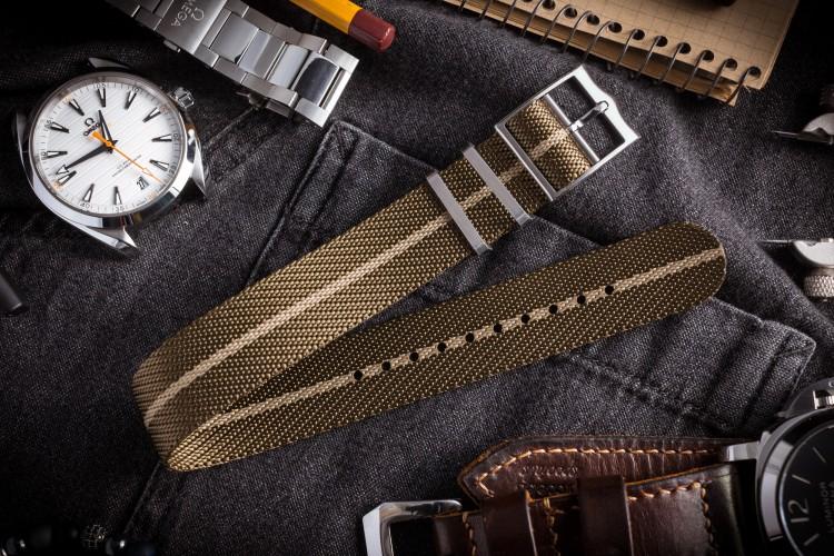 Oil Green Adjustable Twill Single Pass Slip Through Watch Strap with Beige Stripe (20 & 22mm) from STRAPSANDBRACELETS