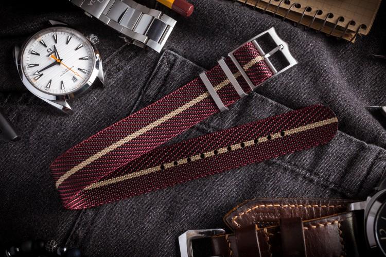 "Red ""Burgundy"" Twill Adjustable Single Pass Slip Through Watch Strap with Beige Stripe (20 & 22mm) from STRAPSANDBRACELETS"