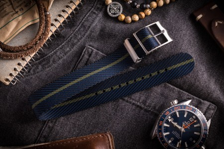 Dark Blue and Olive Green Twill Adjustable Single Pass Nato Watch Strap (20 & 22mm)