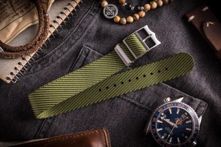 Army Green Adjustable Single Pass Slip Through Watch Strap (20 & 22mm)