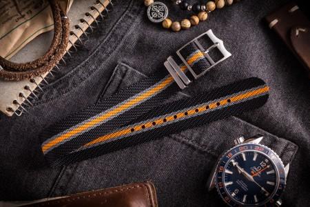 Black, Gray and Orange Adjustable Single Pass Slip Through Watch Strap (20 & 22mm)