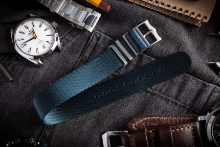 Asteroid Blue Adjustable Silky Seat Belt Fabric Single Pass Slip Through Watch Strap (20 & 22mm)