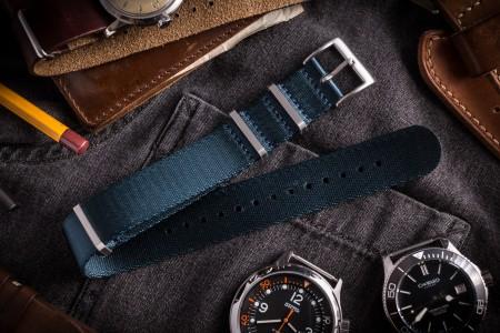 Asteroid Blue Premium Seat Belt Slip Through Nato Watch Strap (20 & 22mm)