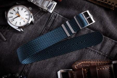 Asteroid Blue Retro, Herringbone Silky Fabric Adjustable Single Pass Slip Through Watch Strap (20 & 22mm)