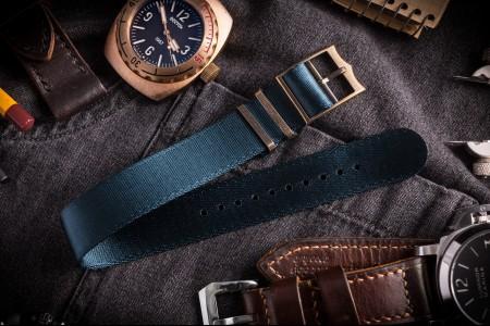 Bronze Hardware - Asteroid Blue Adjustable Seat Belt Single Pass Slip Through Watch Strap (20 & 22mm)