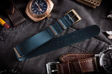 Bronze Hardware - Asteroid Blue Premium Seat Belt Slip Through Nato Watch Strap (20 & 22mm)