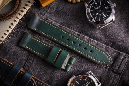 Handmade 20/20mm Veg Tan Dark Joker Green Leather Strap 130/80mm With Beige Stitching