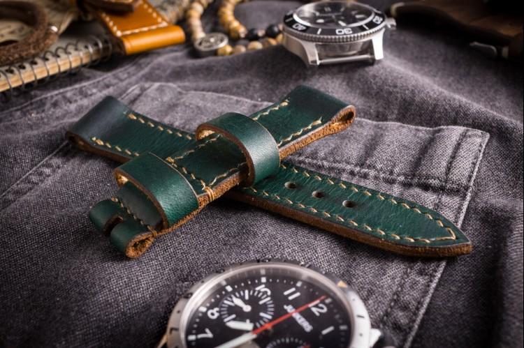 Handmade 20/20mm Veg Tan Dark Joker Green Leather Strap 130/80mm With Beige Stitching from STRAPSANDBRACELETS