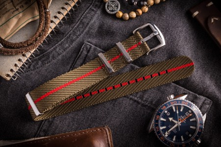 Army Green and Red Premium Twill Slip Through Nato Watch Strap (20 & 22mm)