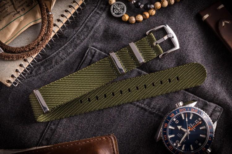 Army Green Premium Twill Slip Through Nato Watch Strap (20 & 22mm) from STRAPSANDBRACELETS