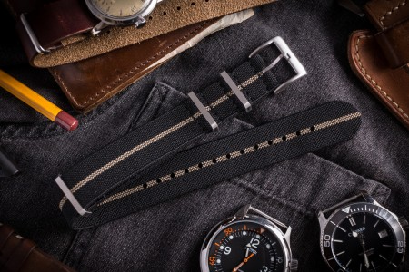 Black and Beige Elastic Material Slip Through Nato Watch Strap (20 & 22mm)