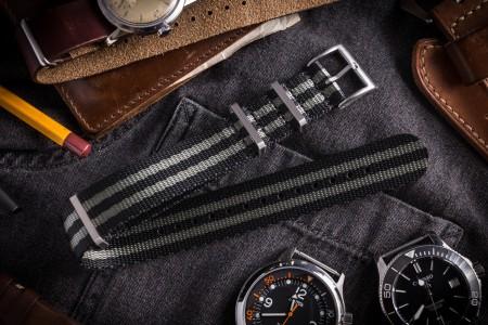 Black & Gray Premium Slip Through Nato Watch Strap (20 & 22mm)