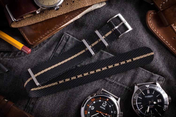 Black & Beige Premium Twill Slip Through Nato Watch Strap (20 & 22mm) from STRAPSANDBRACELETS