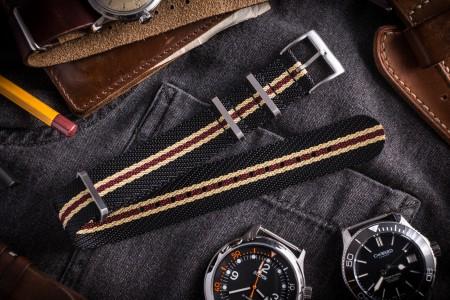 """Black, Beige & Red Premium Twill Slip Through Nato Watch Strap (20 & 22mm) - """"Vintage Vibes"""""""