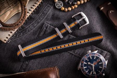 Black, Gray and Orange premium Seat Belt Slip Through Nato Watch Strap (20 & 22mm)