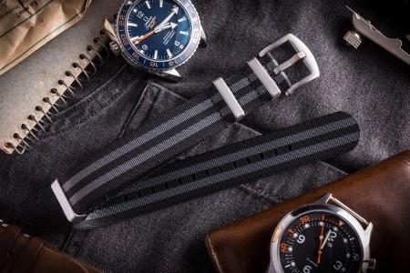 Black & Gray Premium Seat Belt Slip Through Nato Watch Strap (20 & 22mm)
