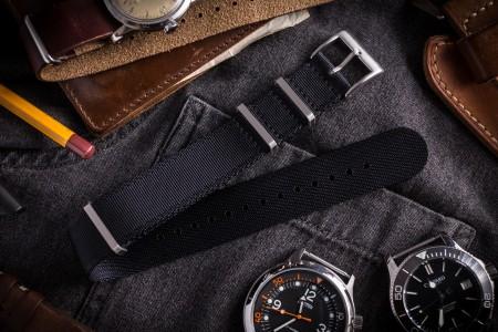 Black Premium Slip Through Nato Watch Strap (20 & 22mm)