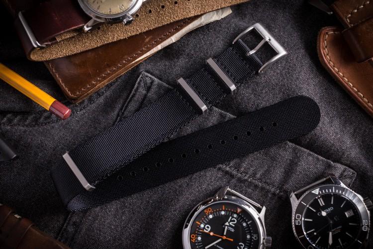 Black Premium Slip Through Nato Watch Strap (20 & 22mm) from STRAPSANDBRACELETS