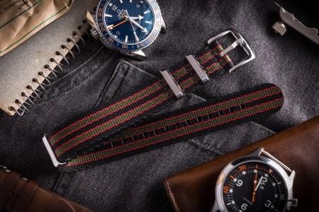 Black, Red With Green Stripes Premium Slip Through Nato Watch Strap (20 & 22mm)