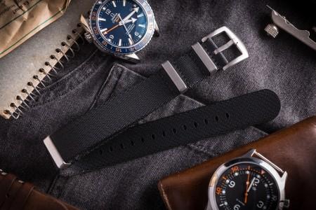 Black Thick Premium Seat Belt Slip Through Nato Watch Strap (20 & 22mm)