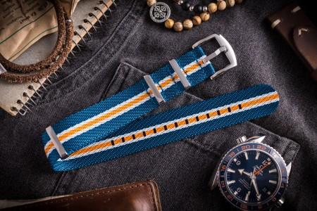 Blue, White and Orange Premium Twill Slip Through Nato Watch Strap (20 & 22mm)