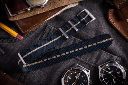 Dark Blue & Beige Premium Twill Slip Through Nato Watch Strap (20 & 22mm)
