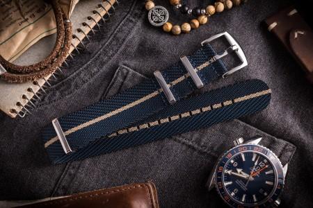 Dark Blue and Beige Premium Twill Slip Through Nato Watch Strap (20 & 22mm)