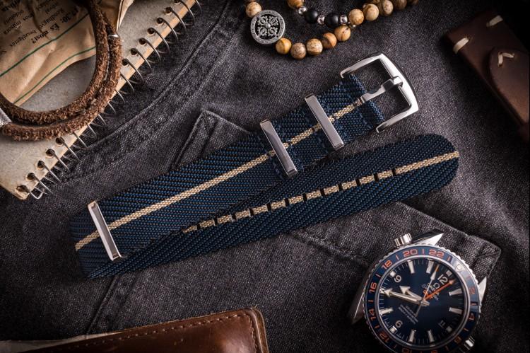 Dark Blue and Beige Premium Twill Slip Through Nato Watch Strap (20 & 22mm) from STRAPSANDBRACELETS