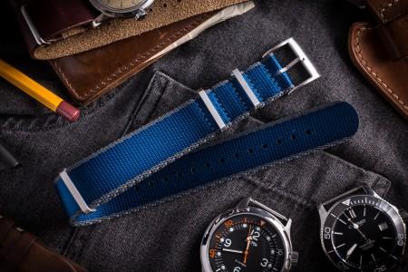 Dark Blue and Gray Premium Slip Through Nato Watch Strap (20 & 22mm)