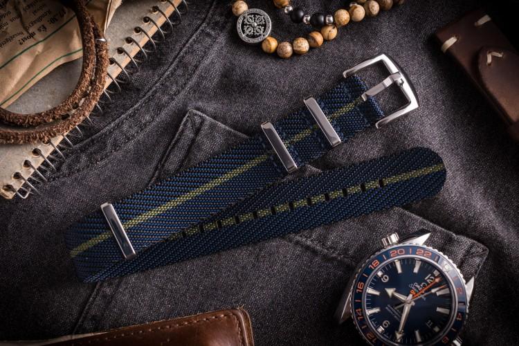 Dark Blue And Green Premium Twill Slip Through Nato Watch Strap (20 & 22mm) from STRAPSANDBRACELETS