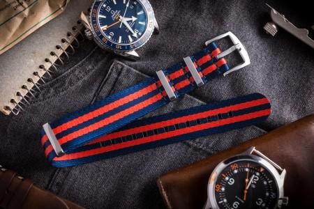 Dark Blue And Red Premium Seat Belt Slip Through Nato Watch Strap (20 & 22mm)