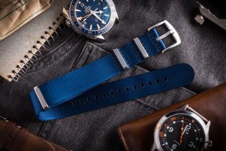 Dark Blue Premium Seat Belt Nato Watch Strap (20 & 22mm)
