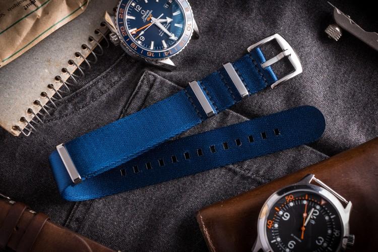Dark Blue Premium Seat Belt Nato Watch Strap (20 & 22mm) from STRAPSANDBRACELETS