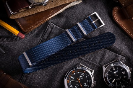 Dark Blue Premium Slip Through Nato Watch Strap (20 & 22mm)