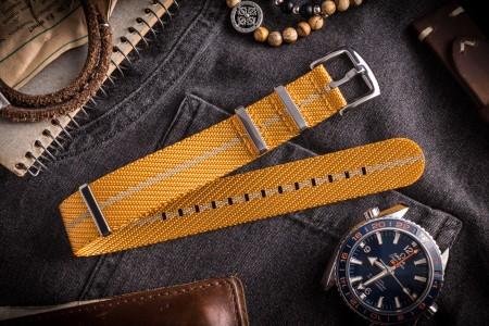 Golden Yellow and Beige Premium Twill Slip Through Nato Watch Strap (20 & 22mm)