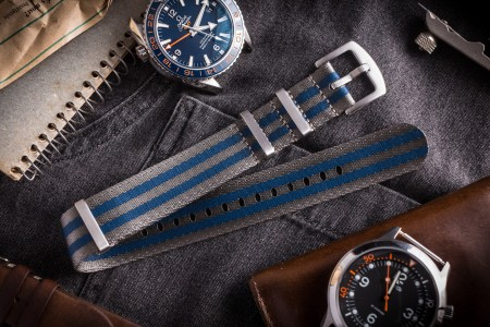 Gray and Blue premium Seat Belt Slip Through Nato Watch Strap (20 & 22mm)