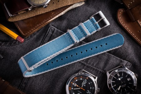 Light Blue and Gray Premium Slip Through Nato Watch Strap (20 & 22mm)