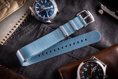 Light Blue Premium Seat Belt Slip Through Nato Watch Strap (20 & 22mm)