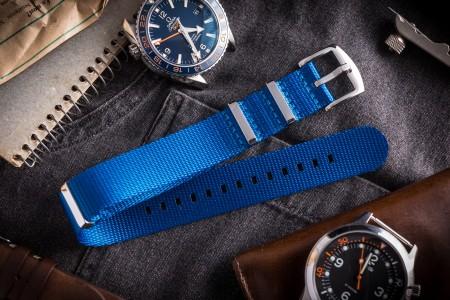 Light Ocean Blue premium Seat Belt Slip Through Nato Watch Strap (20 & 22mm)