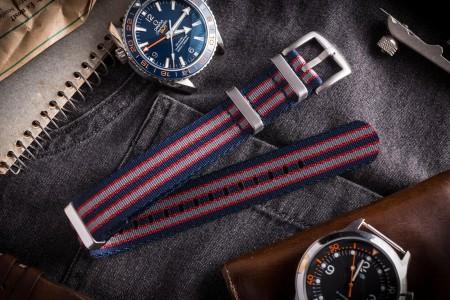 Navy Blue, Red and Gray Seat Belt Slip Through Nato Watch Strap (20 & 22mm)