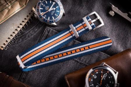Navy Blue, White and Orange Seat Belt Slip Through Nato Watch Strap (20 & 22mm)